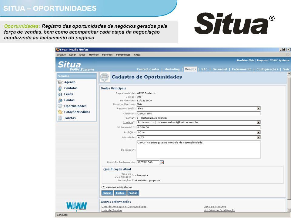 SITUA – OPORTUNIDADES Oportunidades: Registro das oportunidades de negócios gerados pela força de vendas, bem como acompanhar cada etapa da negociação