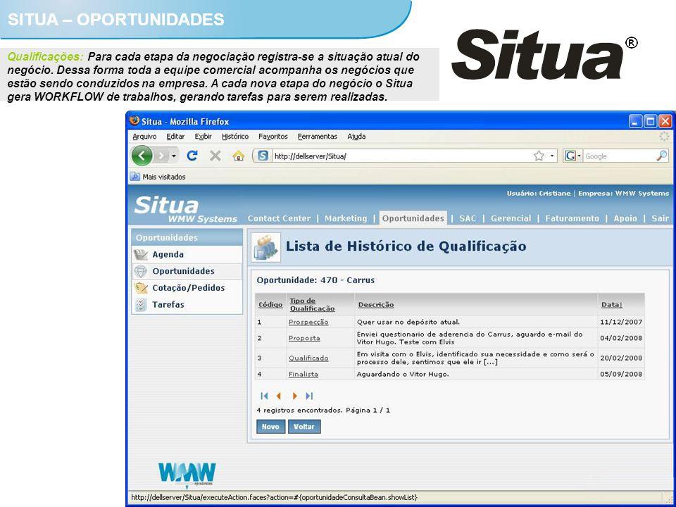 SITUA – OPORTUNIDADES Qualificações: Para cada etapa da negociação registra-se a situação atual do negócio. Dessa forma toda a equipe comercial acompa