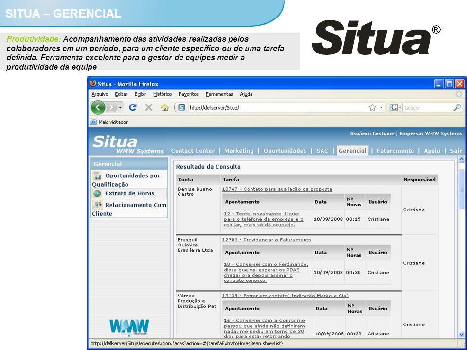 SITUA – GERENCIAL Produtividade: Acompanhamento das atividades realizadas pelos colaboradores em um período, para um cliente específico ou de uma tare
