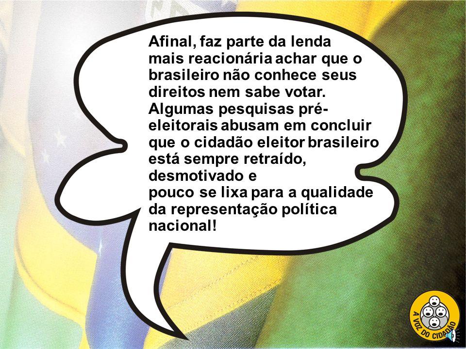 Consideramos a emenda constitucional do voto facultativo o ponto prioritário e de partida para todo um projeto de reforma política, pois só no Brasil