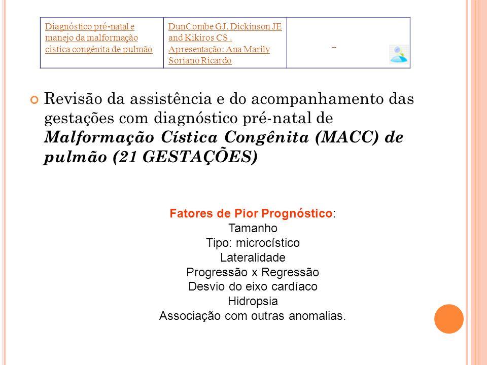 Revisão da assistência e do acompanhamento das gestações com diagnóstico pré-natal de Malformação Cística Congênita (MACC) de pulmão (21 GESTAÇÕES) Di