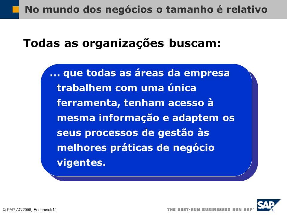 © SAP AG 2006, Federasul/14 No mundo dos negócios o tamanho é relativo Para todas as organizações: Há eficiências a adquirir Novos mercados a conquist