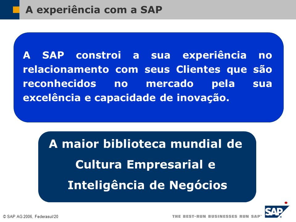 © SAP AG 2006, Federasul/19 Não há mais one size fits all Para todas as organizações: mySAP Business Suite All in one Business one