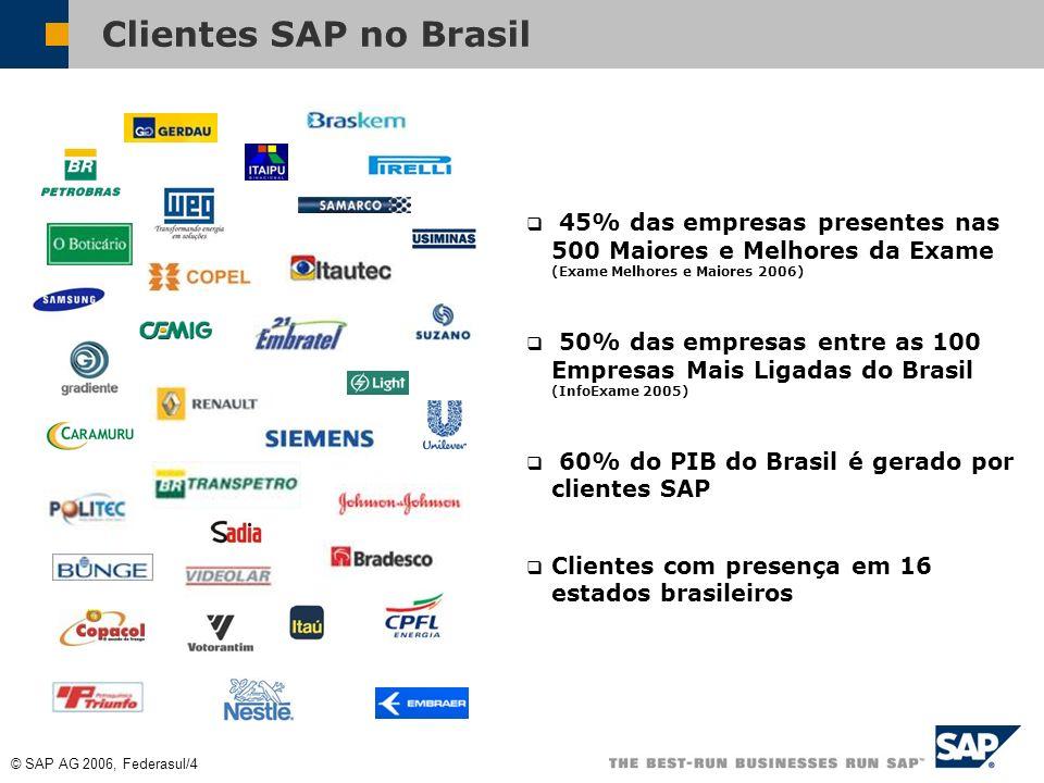 © SAP AG 2006, Federasul/4 Clientes SAP no Brasil 45% das empresas presentes nas 500 Maiores e Melhores da Exame (Exame Melhores e Maiores 2006) 50% das empresas entre as 100 Empresas Mais Ligadas do Brasil (InfoExame 2005) 60% do PIB do Brasil é gerado por clientes SAP Clientes com presença em 16 estados brasileiros