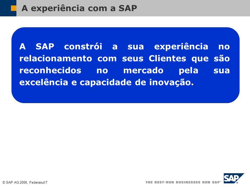 © SAP AG 2006, Federasul/7 A experiência com a SAP A SAP constrói a sua experiência no relacionamento com seus Clientes que são reconhecidos no mercado pela sua excelência e capacidade de inovação.