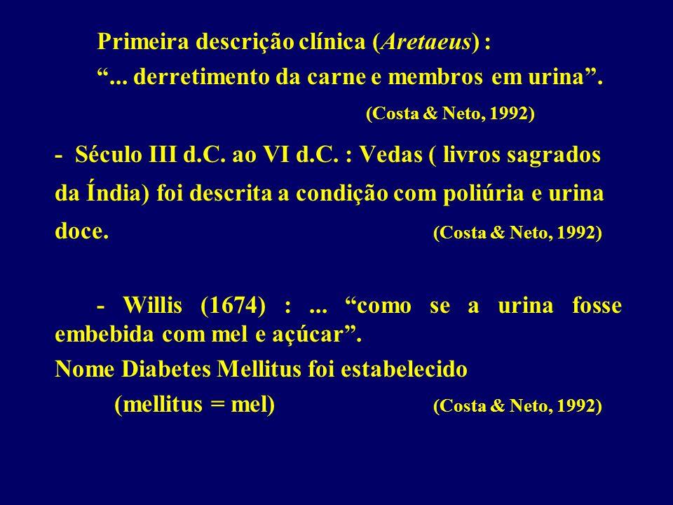 Primeira descrição clínica (Aretaeus) :... derretimento da carne e membros em urina. (Costa & Neto, 1992) - Século III d.C. ao VI d.C. : Vedas ( livro