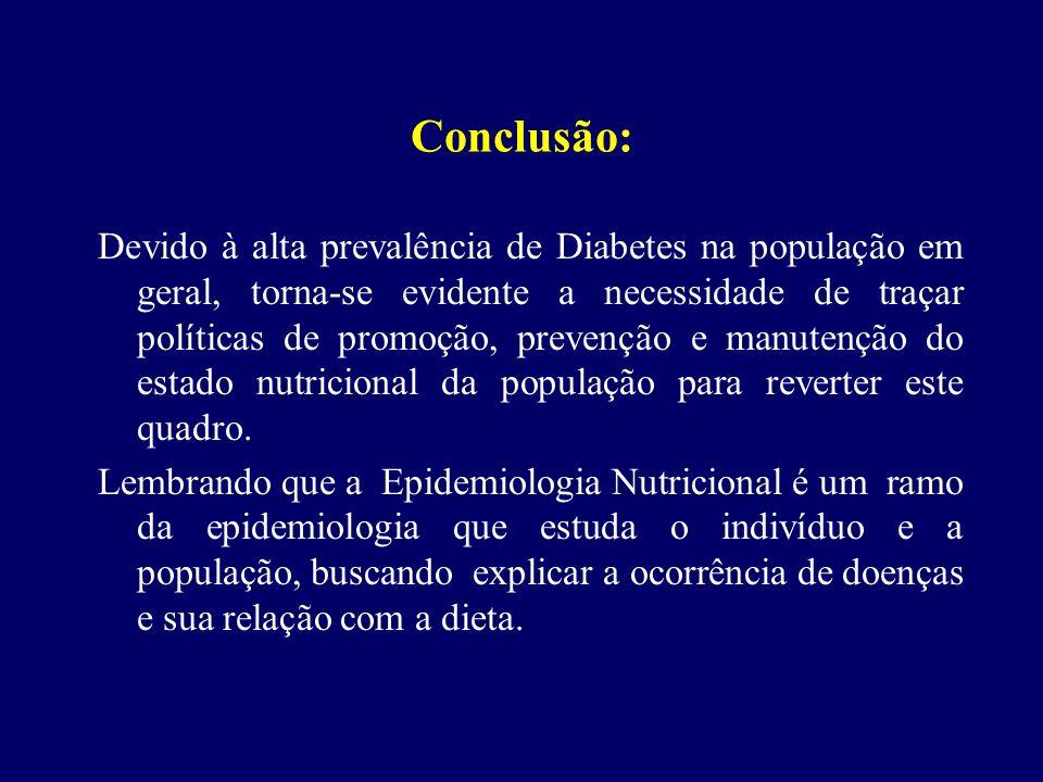 Conclusão: Devido à alta prevalência de Diabetes na população em geral, torna-se evidente a necessidade de traçar políticas de promoção, prevenção e m