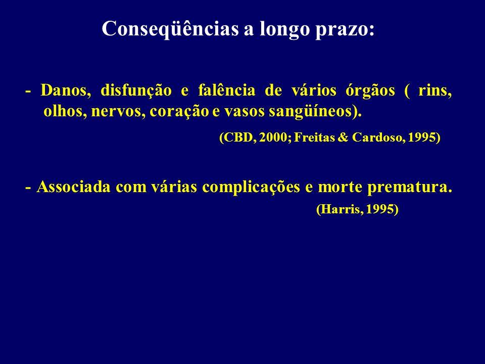 Conseqüências a longo prazo: - Danos, disfunção e falência de vários órgãos ( rins, olhos, nervos, coração e vasos sangüíneos). (CBD, 2000; Freitas &
