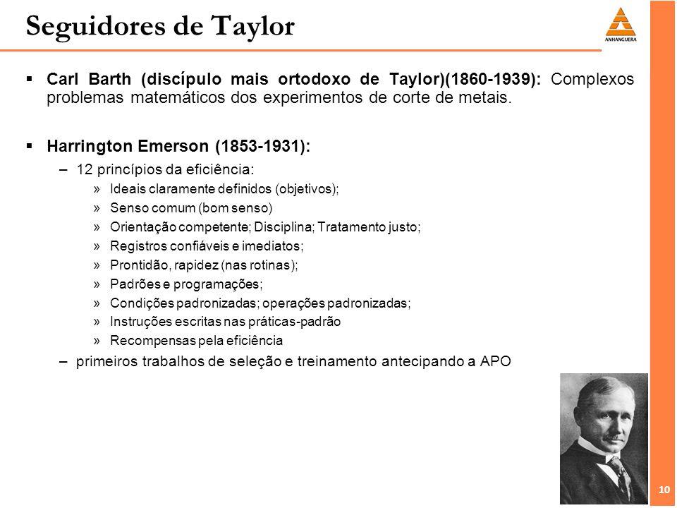 10 Seguidores de Taylor Carl Barth (discípulo mais ortodoxo de Taylor)(1860-1939): Complexos problemas matemáticos dos experimentos de corte de metais