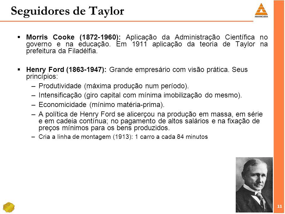 11 Seguidores de Taylor Morris Cooke (1872-1960): Aplicação da Administração Científica no governo e na educação. Em 1911 aplicação da teoria de Taylo