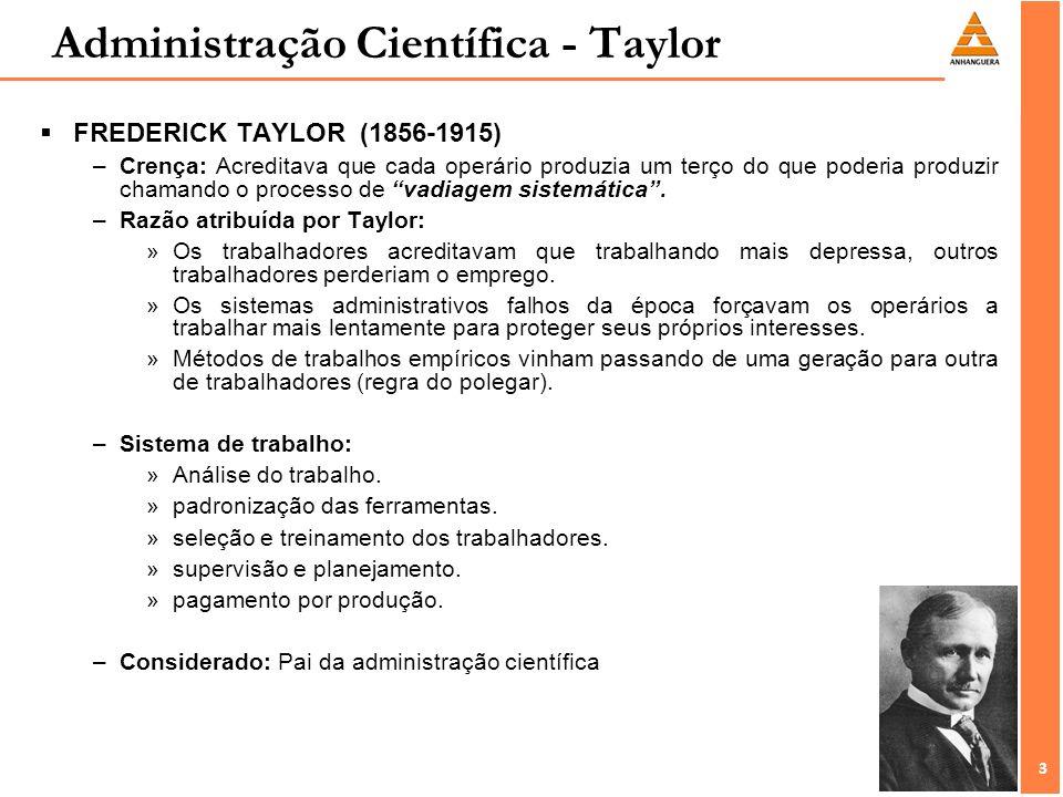 3 3 FREDERICK TAYLOR (1856-1915) –Crença: Acreditava que cada operário produzia um terço do que poderia produzir chamando o processo de vadiagem siste