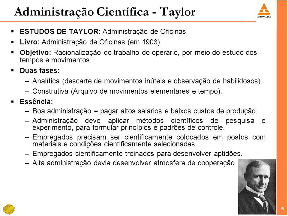 4 4 ESTUDOS DE TAYLOR: Administração de Oficinas Livro: Administração de Oficinas (em 1903) Objetivo: Racionalização do trabalho do operário, por meio