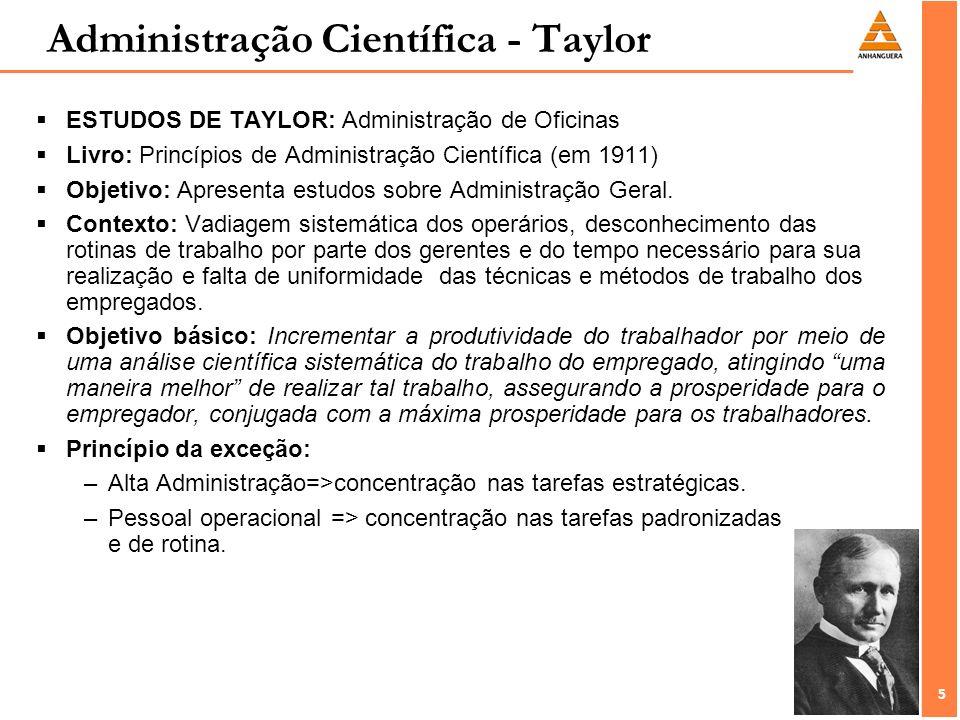 5 5 ESTUDOS DE TAYLOR: Administração de Oficinas Livro: Princípios de Administração Científica (em 1911) Objetivo: Apresenta estudos sobre Administraç