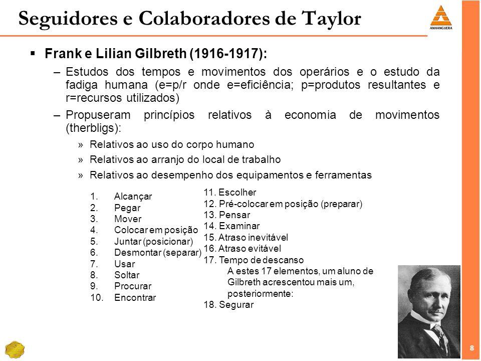 8 8 Seguidores e Colaboradores de Taylor Frank e Lilian Gilbreth (1916-1917): –Estudos dos tempos e movimentos dos operários e o estudo da fadiga huma