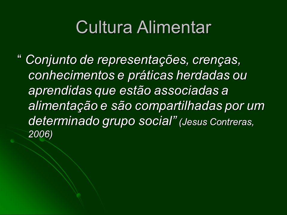 Cultura Alimentar Conjunto de representações, crenças, conhecimentos e práticas herdadas ou aprendidas que estão associadas a alimentação e são compar