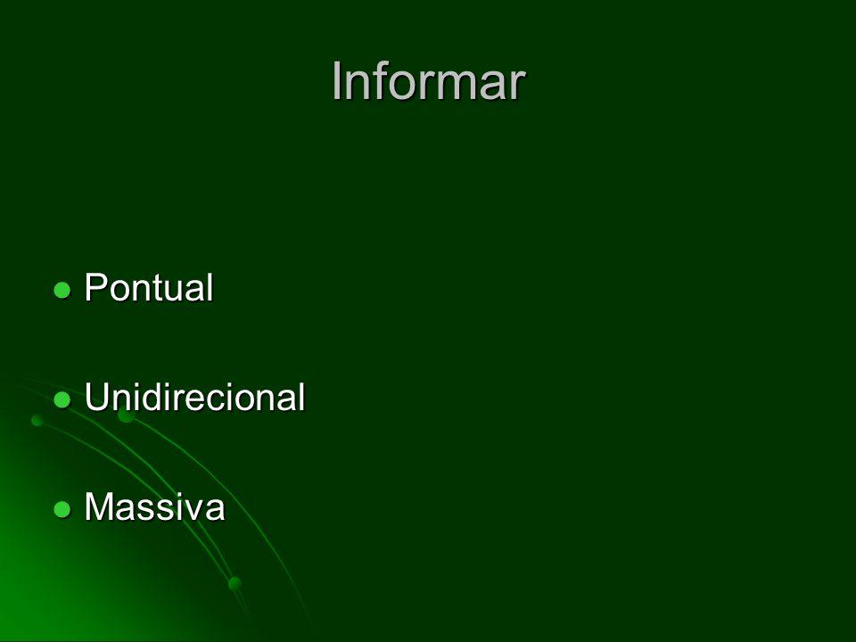 Informar Pontual Pontual Unidirecional Unidirecional Massiva Massiva