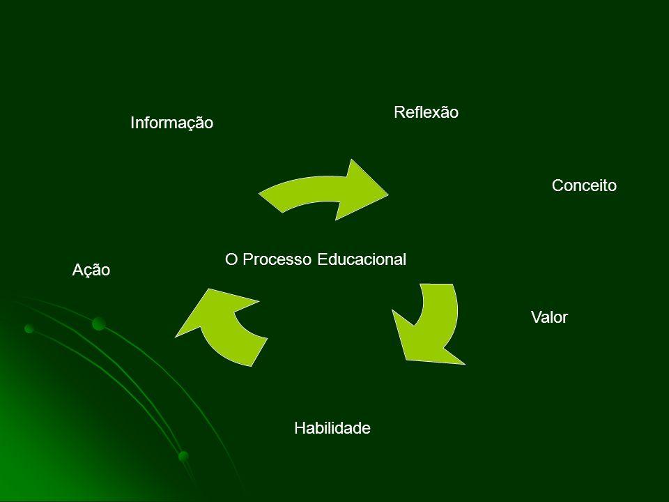 Informação Reflexão Conceito Valor Habilidade Ação O Processo Educacional