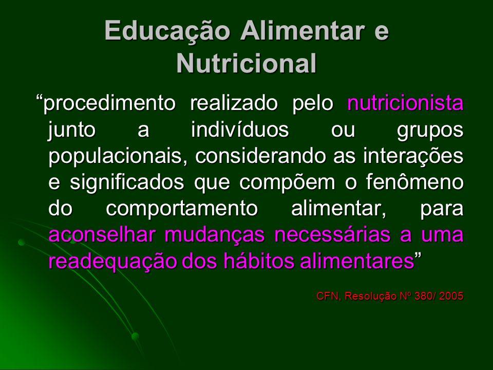 Educação Alimentar e Nutricional procedimento realizado pelo nutricionista junto a indivíduos ou grupos populacionais, considerando as interações e si