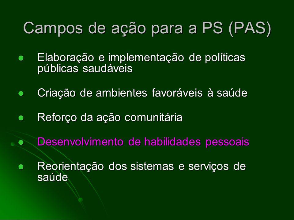 Campos de ação para a PS (PAS) Elaboração e implementação de políticas públicas saudáveis Elaboração e implementação de políticas públicas saudáveis C