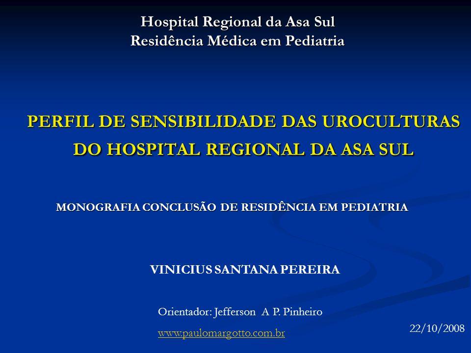 PERFIL DE SENSIBILIDADE DAS UROCULTURAS DO HOSPITAL REGIONAL DA ASA SUL MONOGRAFIA CONCLUSÃO DE RESIDÊNCIA EM PEDIATRIA Hospital Regional da Asa Sul R