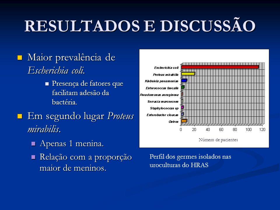 RESULTADOS E DISCUSSÃO Maior prevalência de Escherichia coli. Maior prevalência de Escherichia coli. Presença de fatores que facilitam adesão da bacté