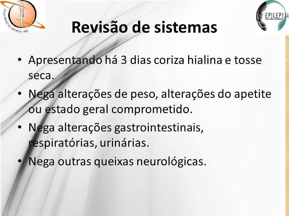 Antecedentes pessoais fisiológicos Nasceu nesta unidade de saúde – HRAS.