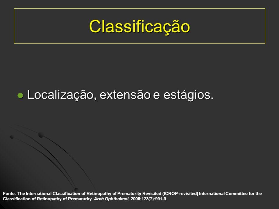Classificação Localização, extensão e estágios. Localização, extensão e estágios. Fonte: The International Classification of Retinopathy of Prematurit