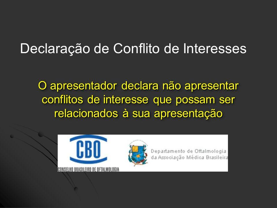 Declaração de Conflito de Interesses O apresentador declara não apresentar conflitos de interesse que possam ser relacionados à sua apresentação