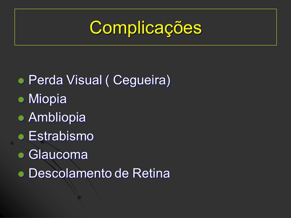 Complicações Perda Visual ( Cegueira) Perda Visual ( Cegueira) Miopia Miopia Ambliopia Ambliopia Estrabismo Estrabismo Glaucoma Glaucoma Descolamento