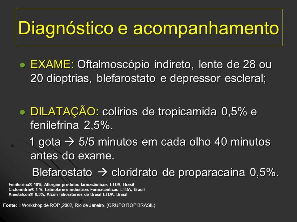 Diagnóstico e acompanhamento EXAME: Oftalmoscópio indireto, lente de 28 ou 20 dioptrias, blefarostato e depressor escleral; EXAME: Oftalmoscópio indir