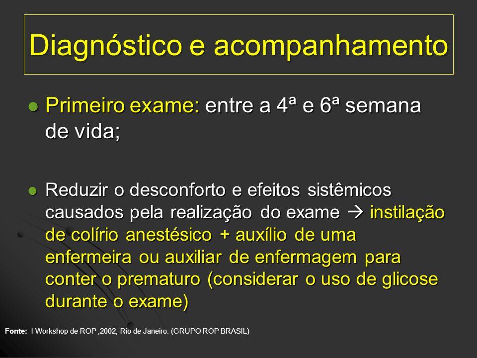Diagnóstico e acompanhamento Primeiro exame: entre a 4ª e 6ª semana de vida; Primeiro exame: entre a 4ª e 6ª semana de vida; Reduzir o desconforto e e