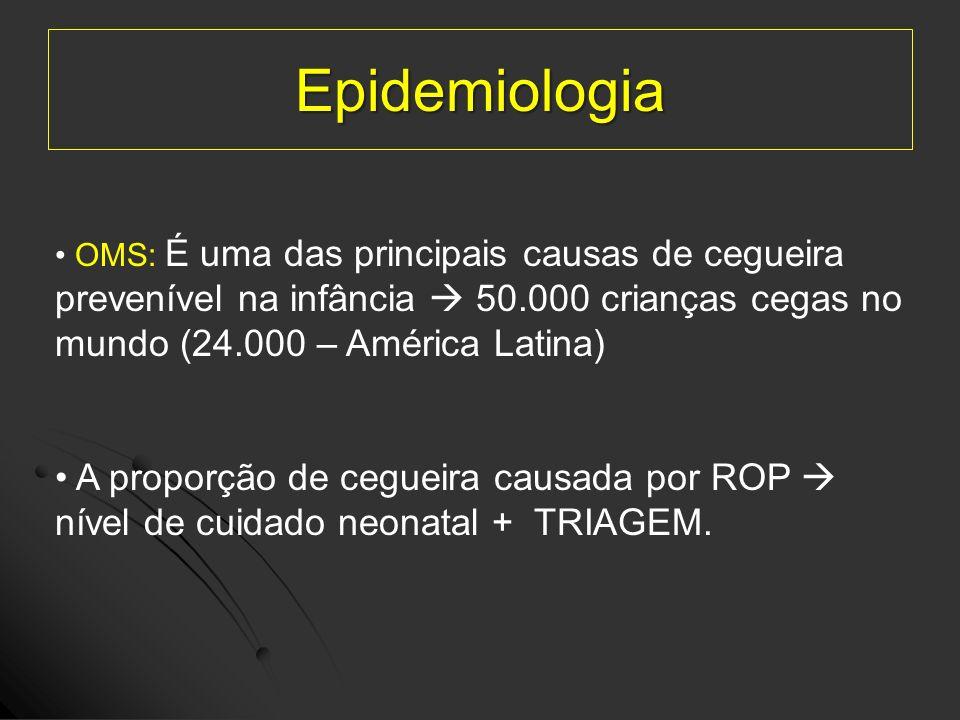 Epidemiologia SBP: 300 unidades neonatais no Brasil A SBP, o CBO e a SBOP recomendam diretrizes todas as unidades neonatais do país (Grupo ROP Brasil)