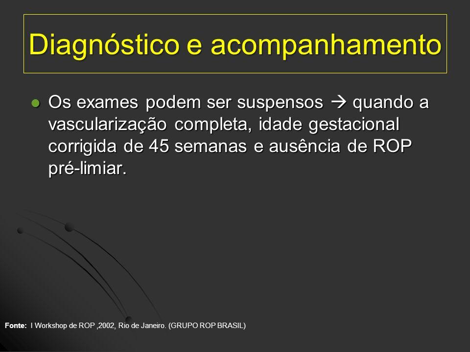 Diagnóstico e acompanhamento Os exames podem ser suspensos quando a vascularização completa, idade gestacional corrigida de 45 semanas e ausência de R