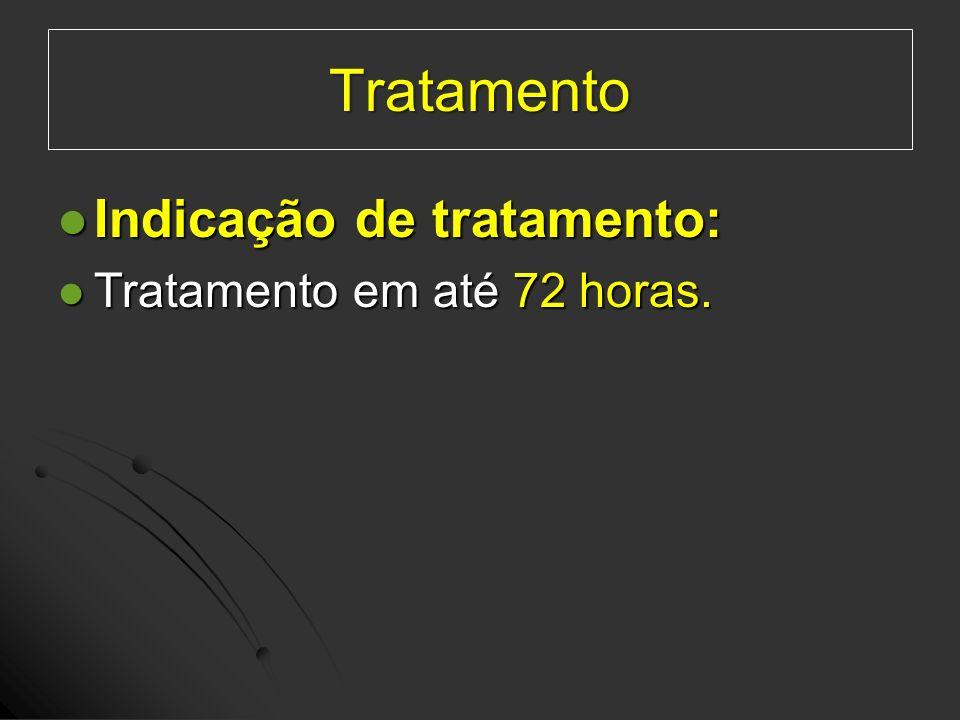 Indicação de tratamento: Indicação de tratamento: Tratamento em até 72 horas. Tratamento em até 72 horas. Tratamento