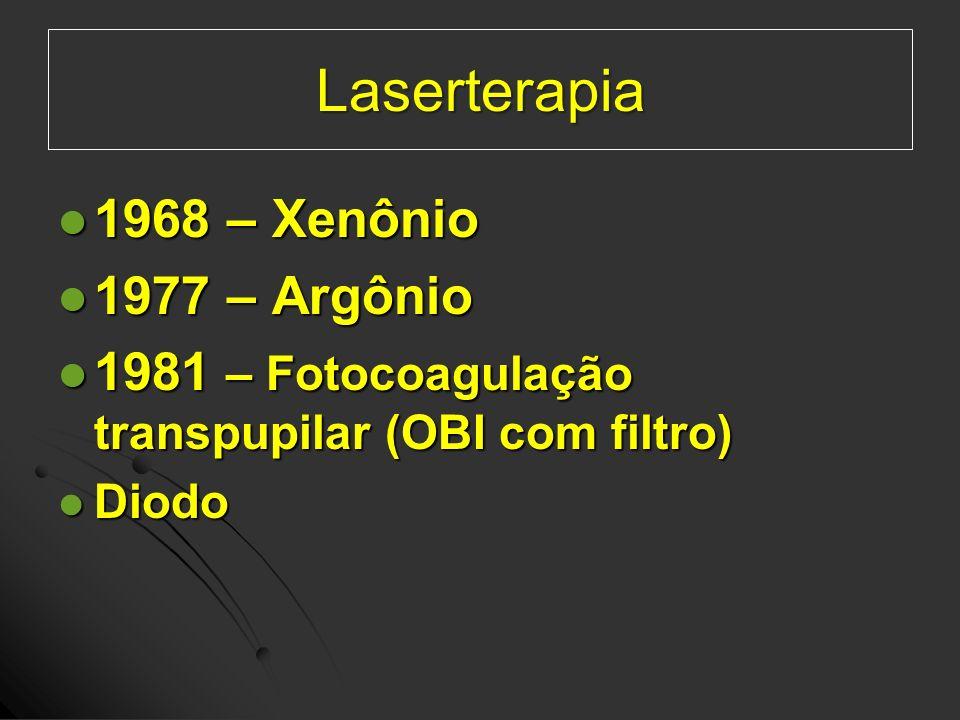 1968 – Xenônio 1968 – Xenônio 1977 – Argônio 1977 – Argônio 1981 – Fotocoagulação transpupilar (OBI com filtro) 1981 – Fotocoagulação transpupilar (OB