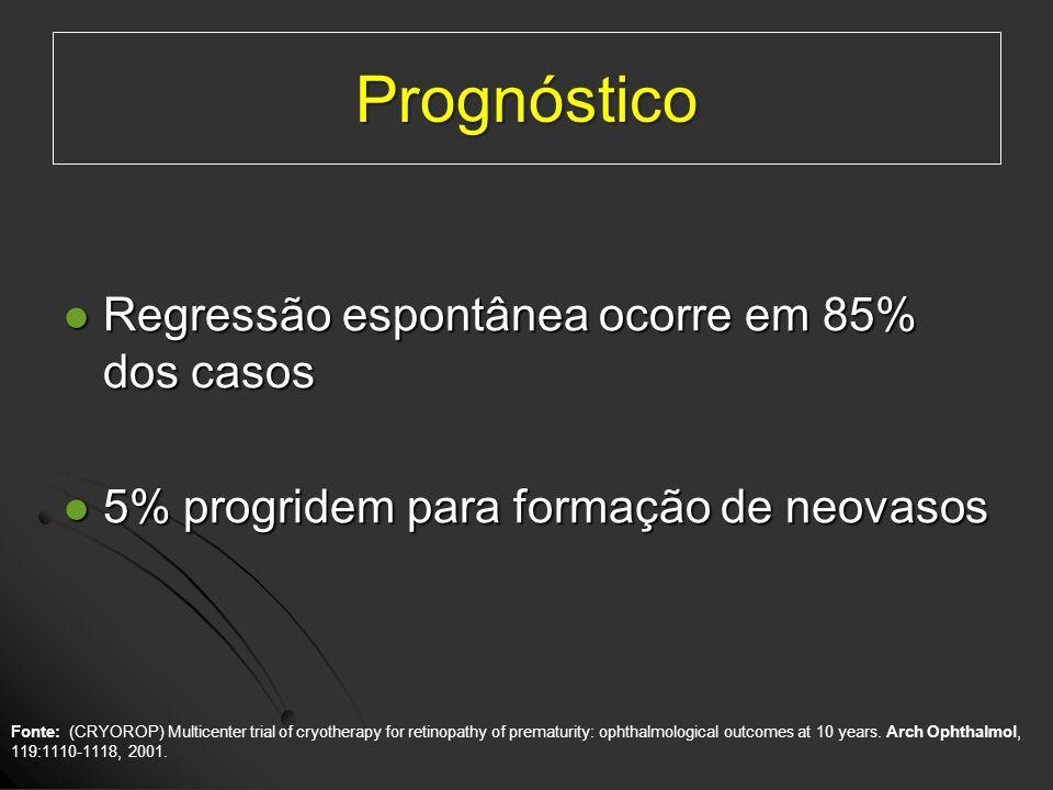 Prognóstico Regressão espontânea ocorre em 85% dos casos Regressão espontânea ocorre em 85% dos casos 5% progridem para formação de neovasos 5% progri