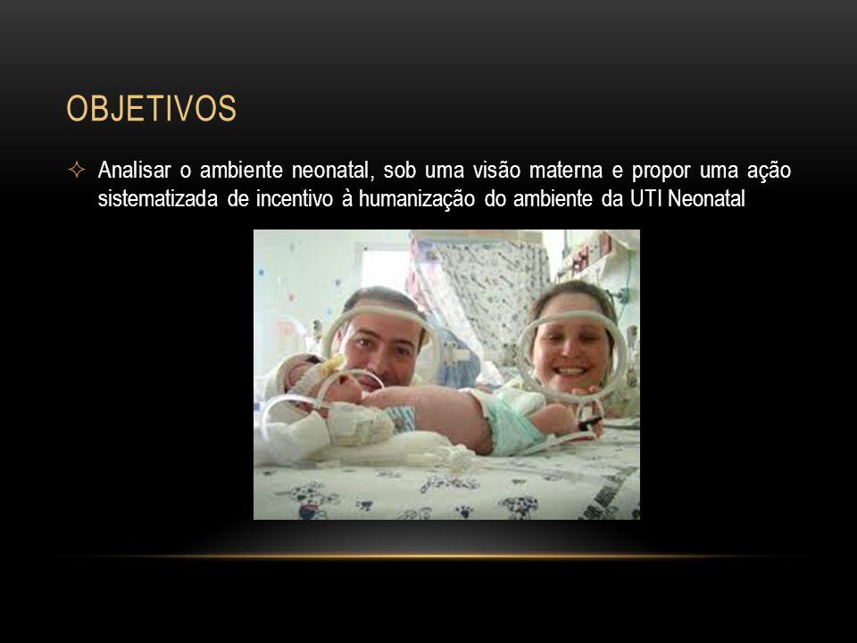 OBJETIVOS Analisar o ambiente neonatal, sob uma visão materna e propor uma ação sistematizada de incentivo à humanização do ambiente da UTI Neonatal