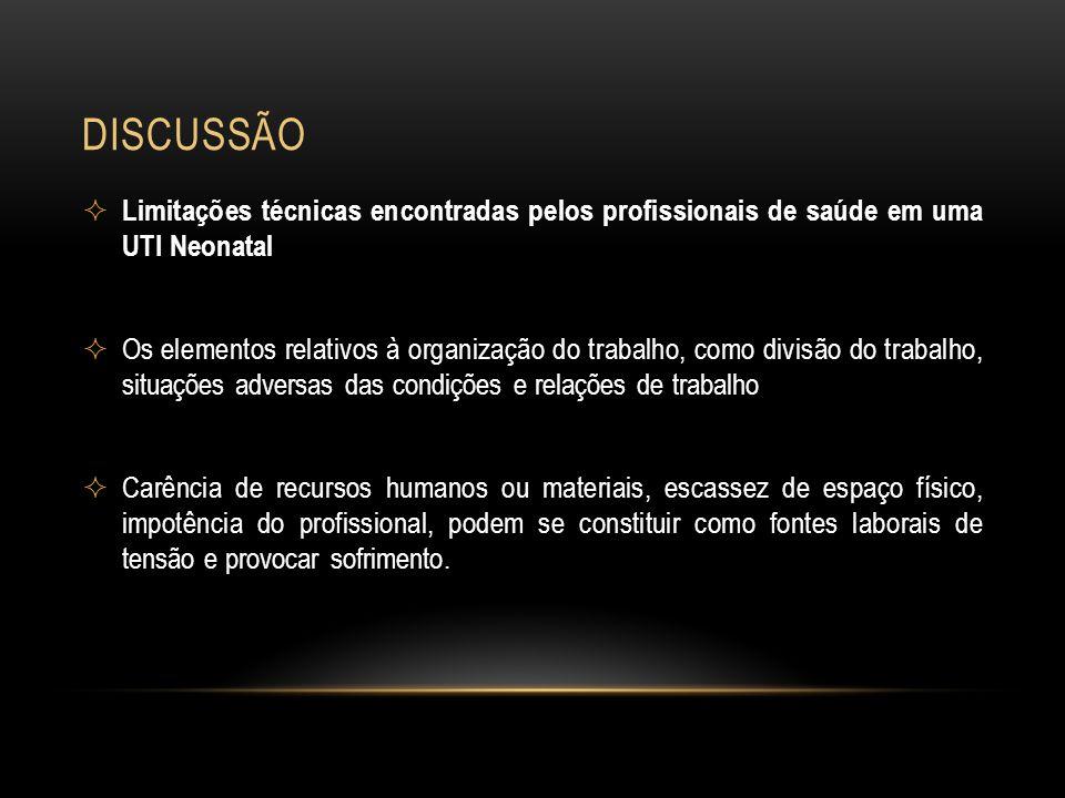DISCUSSÃO Limitações técnicas encontradas pelos profissionais de saúde em uma UTI Neonatal Os elementos relativos à organização do trabalho, como divi