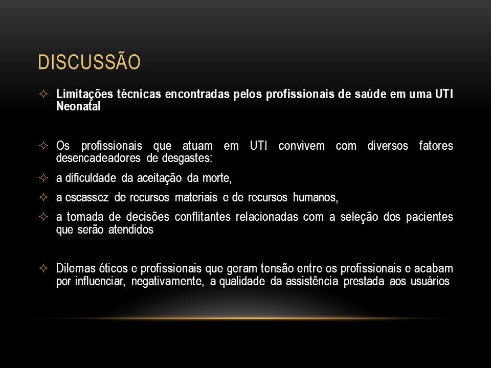 DISCUSSÃO Limitações técnicas encontradas pelos profissionais de saúde em uma UTI Neonatal Os profissionais que atuam em UTI convivem com diversos fat