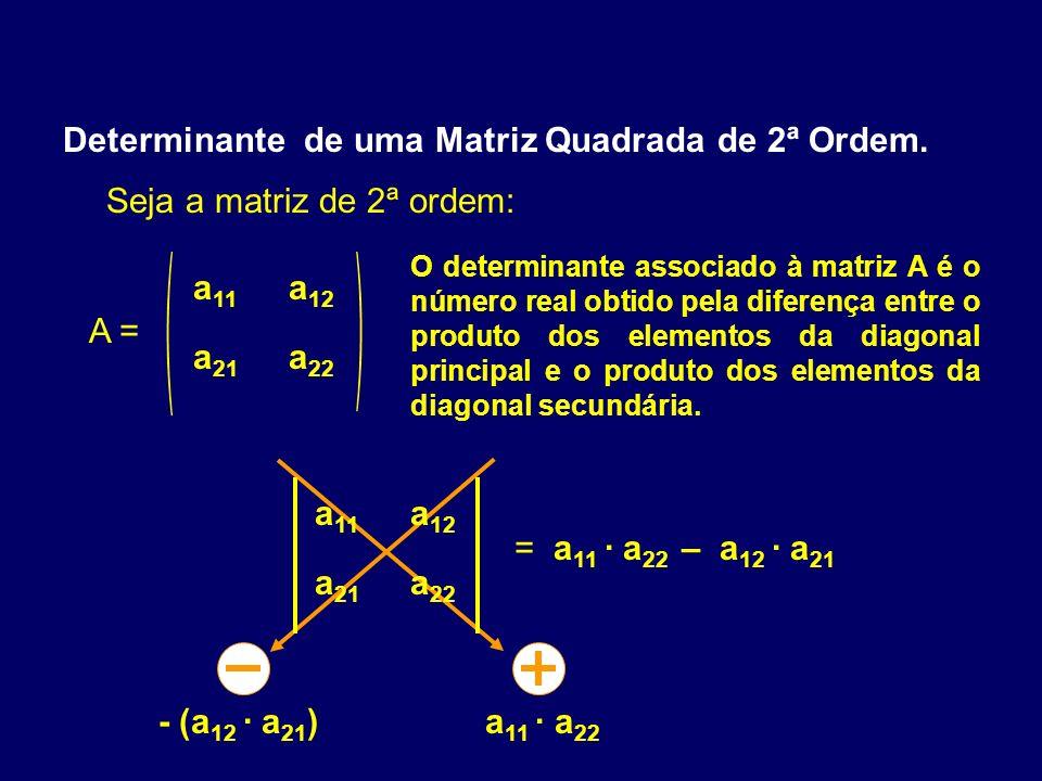 Determinante de uma Matriz Quadrada de 2ª Ordem. Ex: 1) + - 72 3 5 = 7.5 - 2.3 = 29