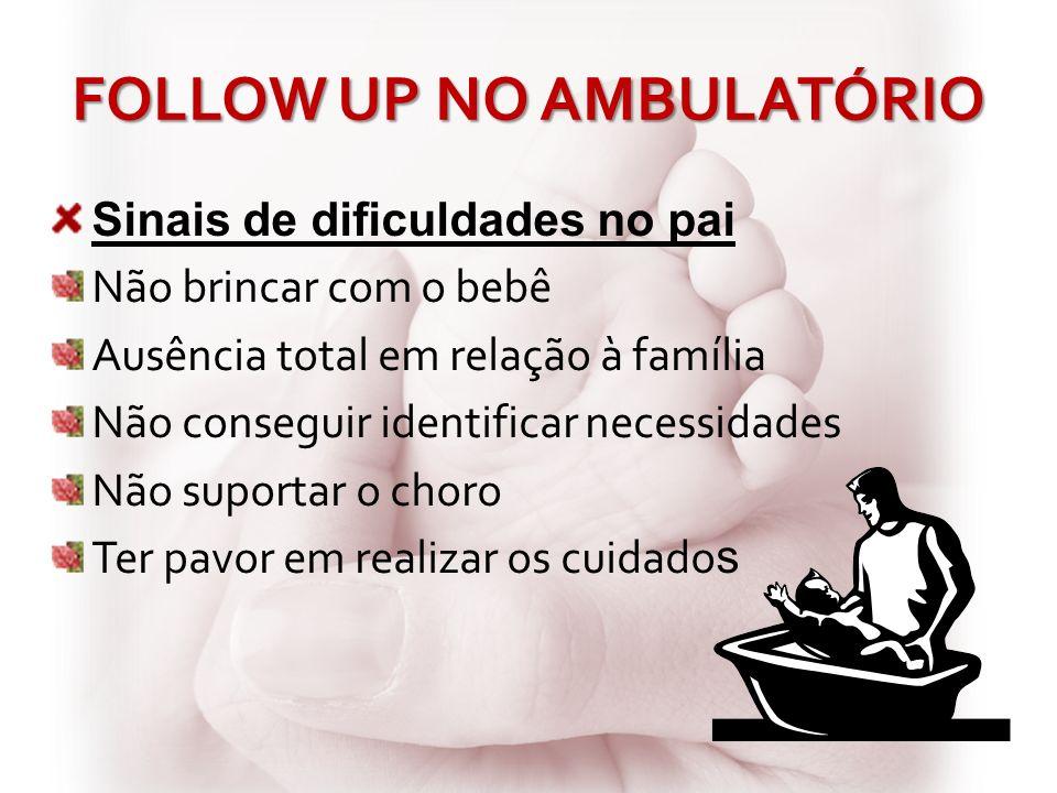 FOLLOW UP NO AMBULATÓRIO Sinais de dificuldades no pai Não brincar com o bebê Ausência total em relação à família Não conseguir identificar necessidad
