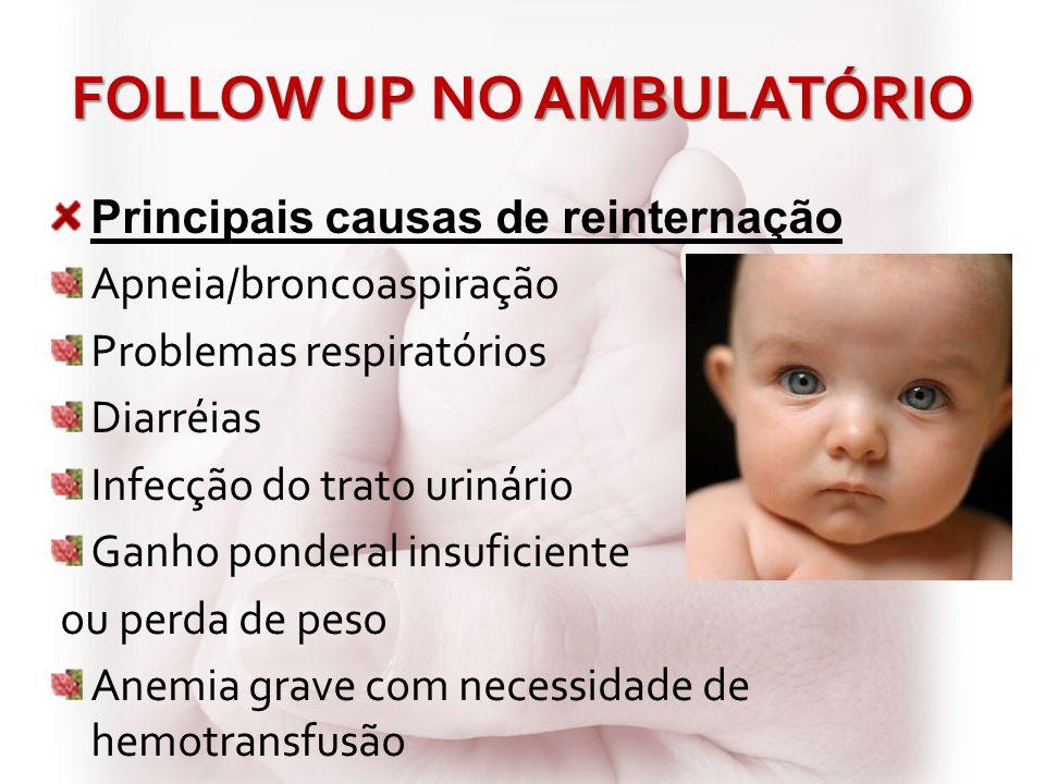 FOLLOW UP NO AMBULATÓRIO Principais causas de reinternação Apneia/broncoaspiração Problemas respiratórios Diarréias Infecção do trato urinário Ganho p