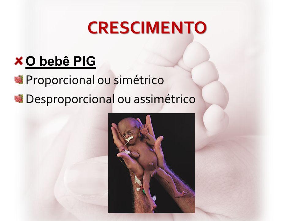 CRESCIMENTO O bebê PIG Proporcional ou simétrico Desproporcional ou assimétrico