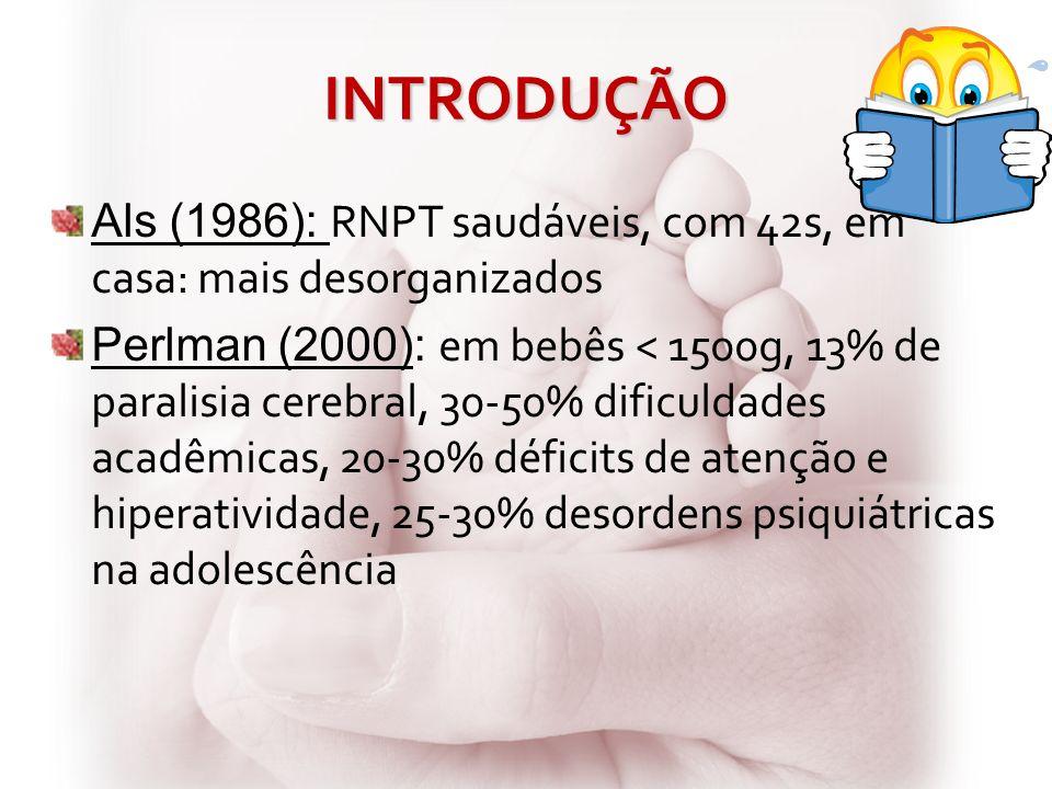 INTRODUÇÃO Als (1986): RNPT saudáveis, com 42s, em casa: mais desorganizados Perlman (2000): em bebês < 1500g, 13% de paralisia cerebral, 30-50% dific