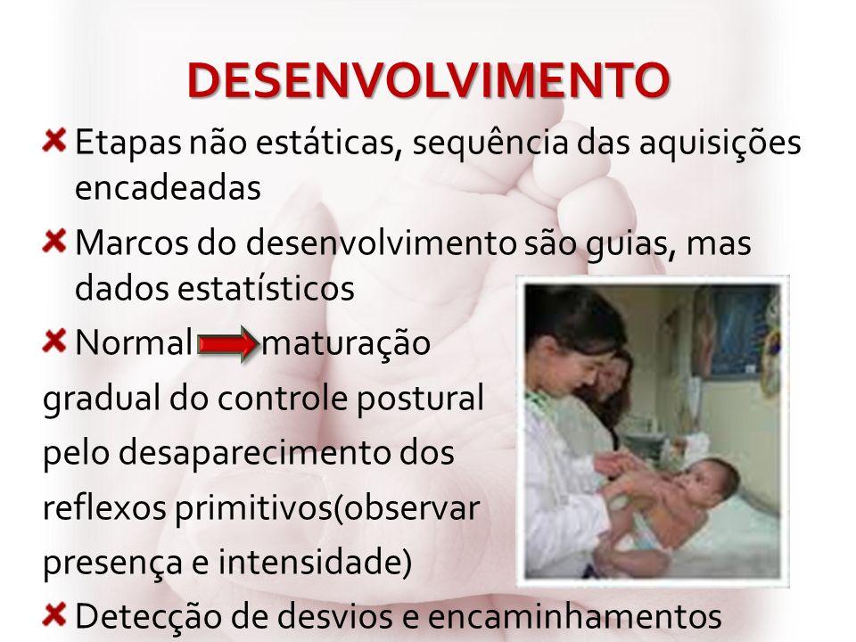 DESENVOLVIMENTO Etapas não estáticas, sequência das aquisições encadeadas Marcos do desenvolvimento são guias, mas dados estatísticos Normal maturação
