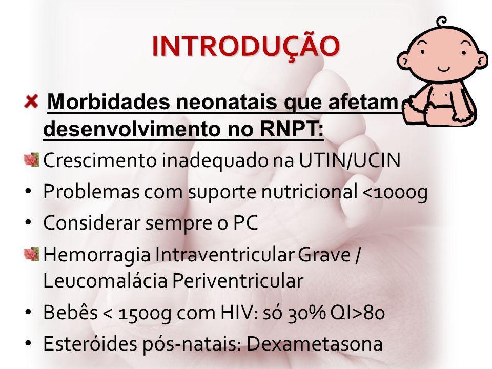 INTRODUÇÃO Morbidades neonatais que afetam o desenvolvimento no RNPT: Doença Pulmonar Crônica Retinopatia da Prematuridade Importância do desmame precoce do respirador e dieta enteral plena Fatores que protegem