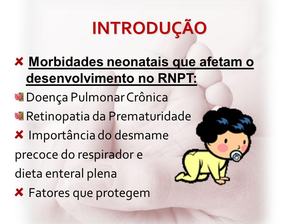 INTRODUÇÃO Morbidades neonatais que afetam o desenvolvimento no RNPT: Doença Pulmonar Crônica Retinopatia da Prematuridade Importância do desmame prec