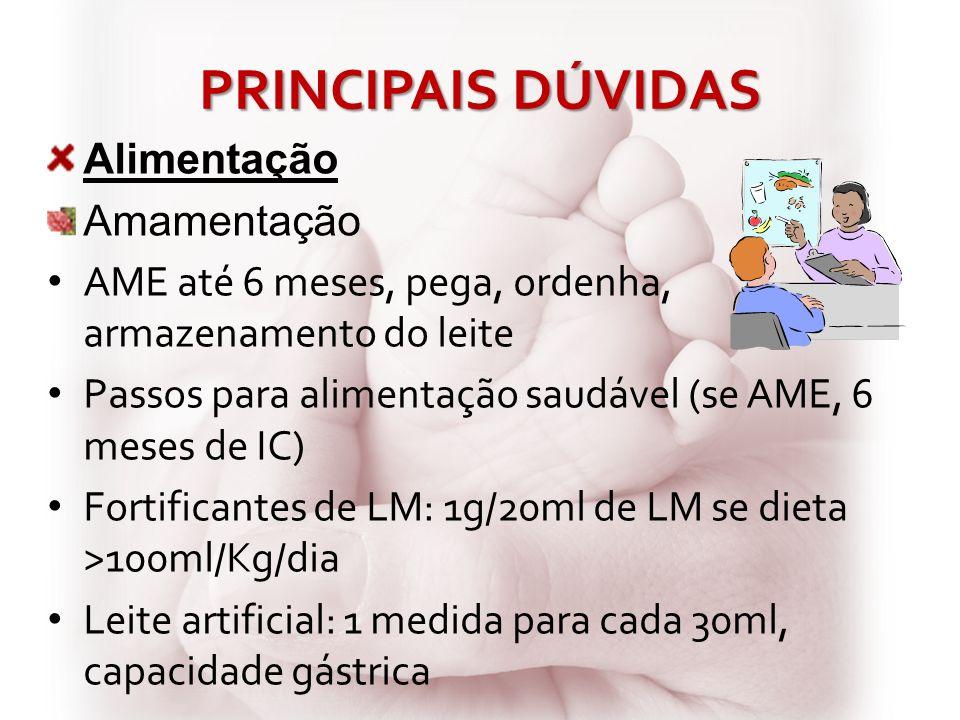 PRINCIPAIS DÚVIDAS Alimentação Amamentação AME até 6 meses, pega, ordenha, armazenamento do leite Passos para alimentação saudável (se AME, 6 meses de