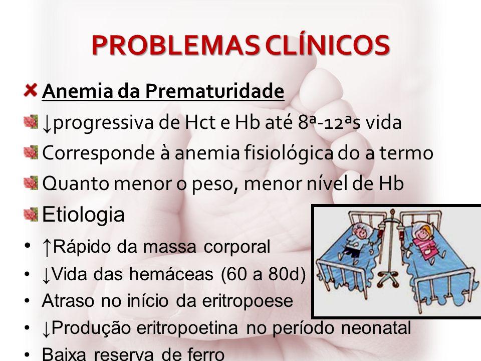 PROBLEMAS CLÍNICOS Anemia da Prematuridade progressiva de Hct e Hb até 8ª-12ªs vida Corresponde à anemia fisiológica do a termo Quanto menor o peso, m
