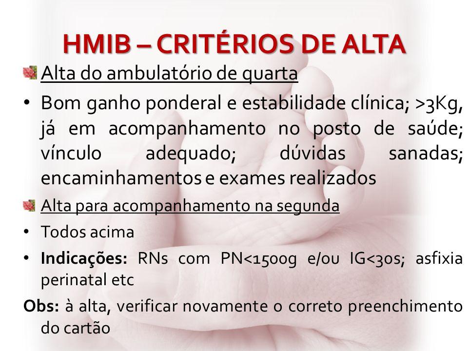 HMIB – CRITÉRIOS DE ALTA Alta do ambulatório de quarta Bom ganho ponderal e estabilidade clínica; >3Kg, já em acompanhamento no posto de saúde; víncul